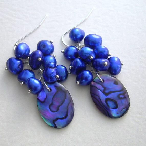 Purple Cluster Earrings, Cobalt Blue Pearl Jewelry, Abalone Shell Earrings