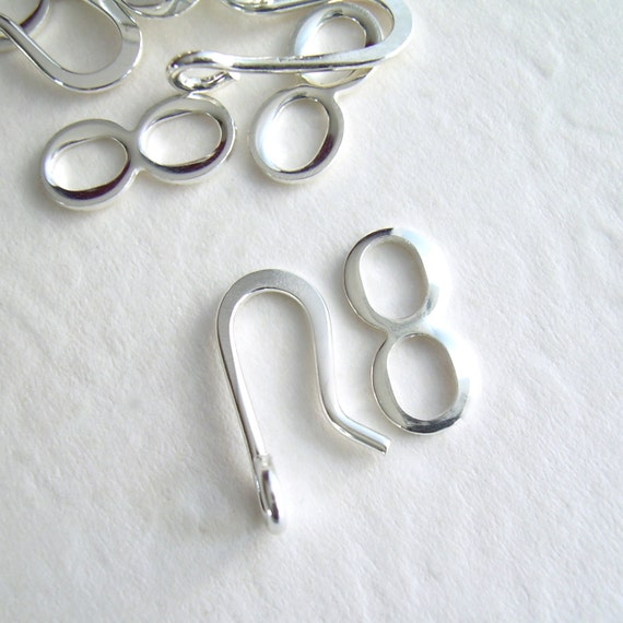 Hook and Eye Clasp, Silver Plated Hook Clasps, 35 sets, 13 mm, Destash