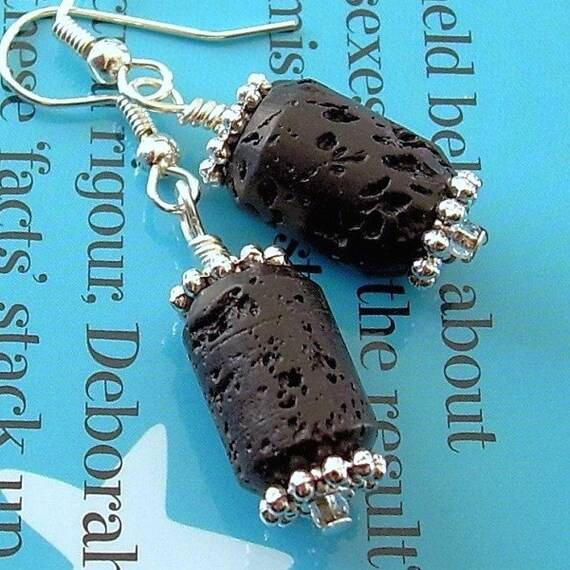 SALE Lava Tubes - Trendy black and silver earrings