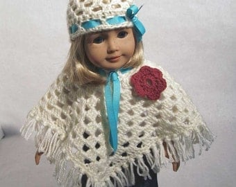 "Sweet Doll Poncho and Hat Pattern PDF - Fits 18"" inch Dolls"
