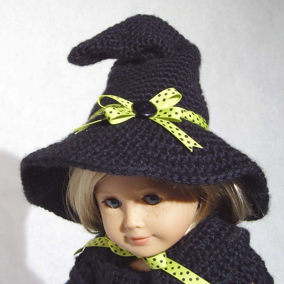 Free Crochet Baby Witch Hat Pattern : Crochet Doll Witch Hat Pattern PDF Fits 18-inch Dolls