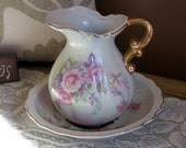 SALE Vintage Lefton Pitcher and Bowl - Hand Painted number 6628