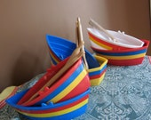 Ice Cream Boats Dishes Vintage - Set of Six with Spoons Great for Childs Birthday Party - Sale