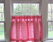 Cafe Curtains Pink Damask Print Vintage 1950s 1960s - Simply Adorable