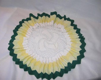 SALE Vintage Crocheted Ruffled Doily - Yellow, Green and White