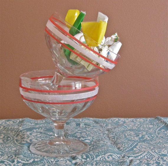 Vintage 1950s Dessert Ice Cream Cups  Clear Glass With Red and White Stripes   Clearance