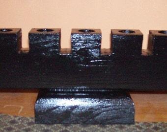 Wooden KINARA - KWANZAA CANDLEHOLDER  Black