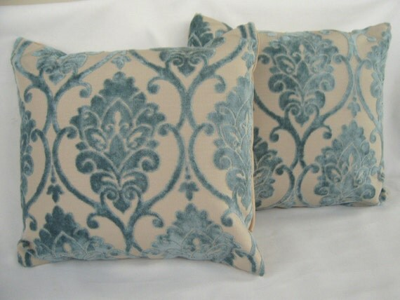 Pillow \/ cushion covers - set of two in powder blue velvet brocade -- 16x16 inches