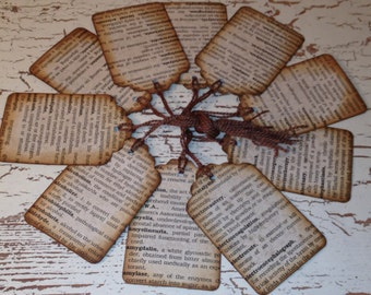 Vintage Medical Dictionary Tags, Nostalgic, Primitive, Scrapbooking, Journaling Spot, Smash Book Tag, Aged Book Page Tags, Embellishment