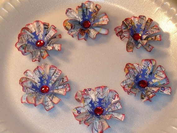 SALE, 30% OFF, USA Map Paper Flowers, Red White Blue Flowers, Collage, Embellishments, Mixed Media, Scrapbooking Supplies