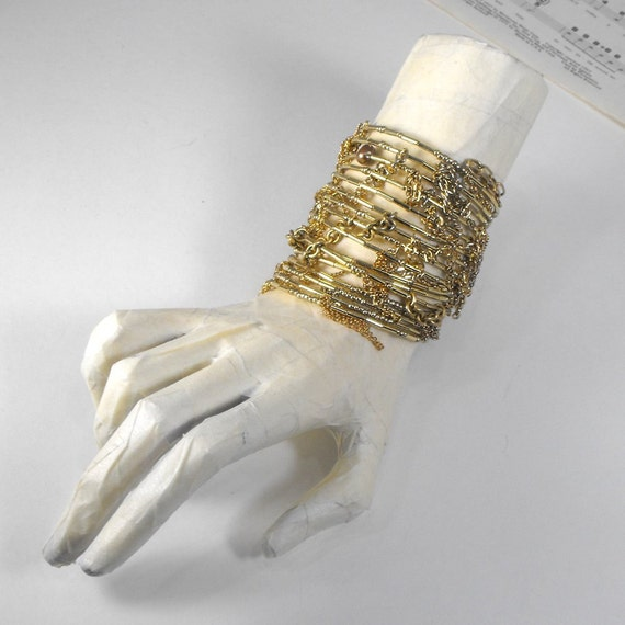 Gold chain wrap bracelet. recycled. eco friendly. one of a kind.