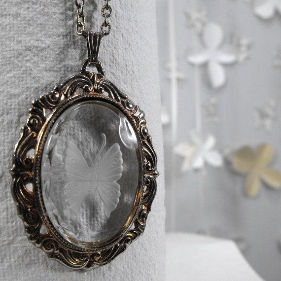 Vintage Brass and Clear Acrylic Frosted Romantic Butterfly Cameo Necklace