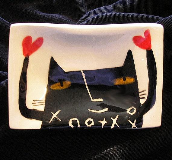 SALE--Black XO Cat Minidish