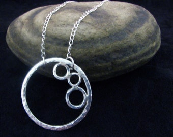 Hand Forged Metal Personalized Hammered Circle Sterling Silver Necklace