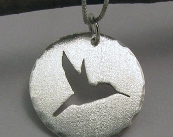 Pendant Sterling Silver Hand Sawn Hummingbird Silhouette