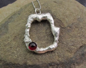 Brambles No 1 - Hand Forged Metal and Gemstone Pendant - sterling silver with red garnet gemstone