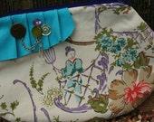 SALE- Pleated Embellished Zipper Clutch- Asian Print  OOAK