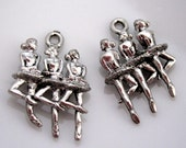 4 Dancing Ballerinas Pewter Charms