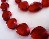 6 Scarlet Red Flat Briolette Beads Faceted Translucent Glass 12x15mm FREE US SHIPPING