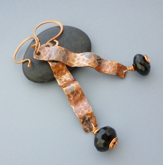 Rough and Rugged Copper and Black Onyx Earrings