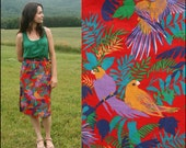 Vitnage 60s Vintage Birds of Paradise Skirt HIGH Waist