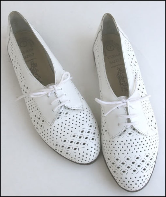 Vtg 80s Woven White Huarache Tooled Leather Lace-Up OXFORDS Shoes 7