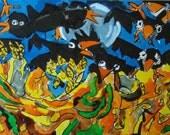 Hommage a Vincent van Gogh, champ de ble avec corbeaux