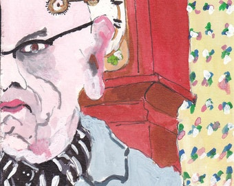 Self Portrait in front oif the Grandfather Clock