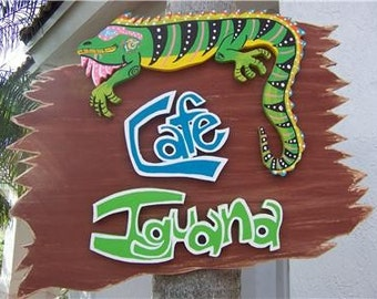 Tropical Cafe Iguana Wood Sign