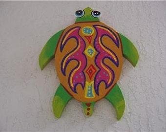 Tropical Tribal Turtle Wood Home Decor