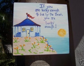 Tropical Lucky Beach Cottage Wood Sign