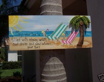 Tropical Beach Sand Sunsets Drinks Wood Sign