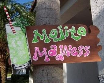 Tropical Mojito Madness Tiki Bar Wood Sign