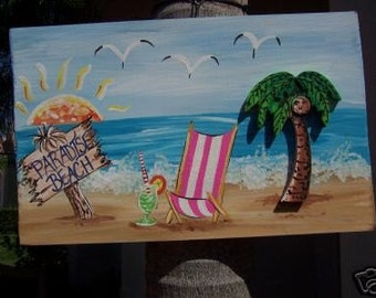 Tropical Paradise Beach Wood Sign