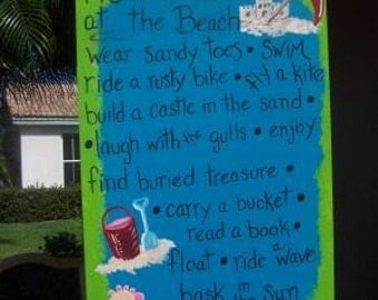 Tropical How To Live At The Beach Wood Sign