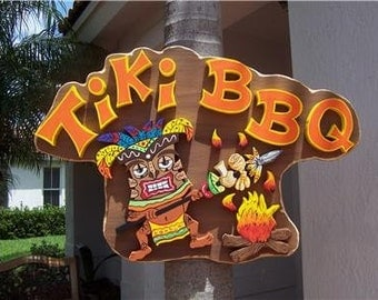 Tropical Tiki BBQ Wood Sign