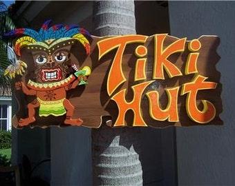 Tropical Tiki Hut Wood Sign