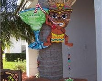 Tropical Tiki Margarita Party Bar Wood Sign