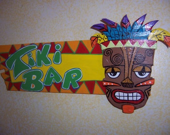 Tropical Tiki Bar Wood Sign