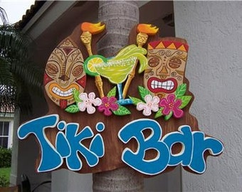 Tropical Tiki Torch Hibiscus Bar Home Decor  Wood Sign