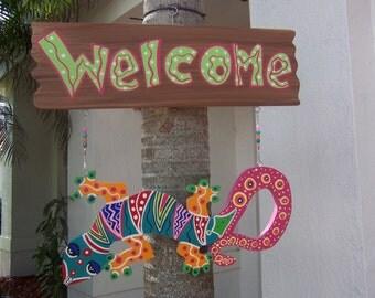 Tropical Gecko Lizard Iguana Welcome Wood Sign