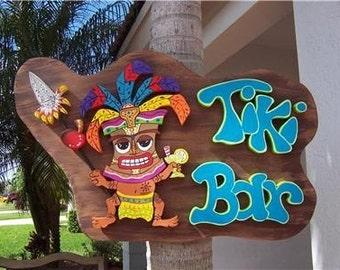 Tropical Tiki Bar Home Decor Wood Sign