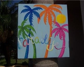 Tropical Whimsical Palm Trees Paradise Wood Sign