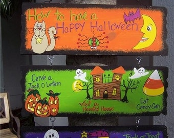 Whimsical Children's How To Have A Happy Halloween Wood Sign