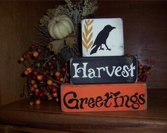 Primitive Halloween Autumn Harvest Greetings Wood Blocks Sign