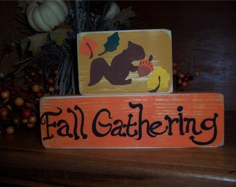 Primitive Halloween Autumn Fall Gathering Wood Blocks Sign