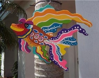 Tropical Fancy Fish Wood Home Decor