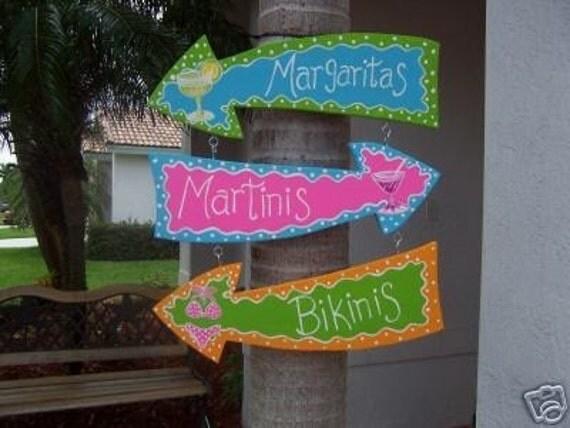 Tropical Margaritas Martinis Bikinis Arrows Wood Sign