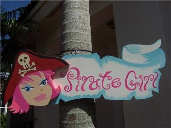 Children's Pirate Girl Banner Wood Sign