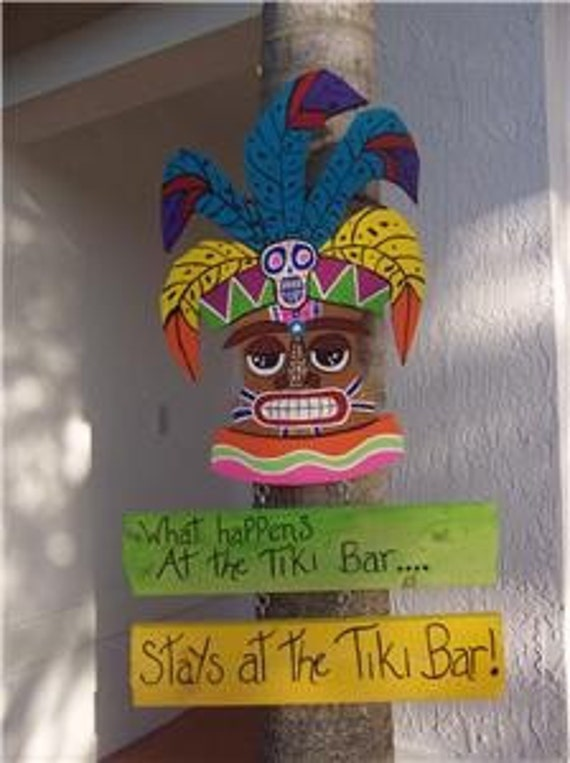 Tropical What Happens At The Tiki Bar Stays At The Tiki Bar Wood Sign